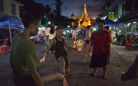 Chinlone played on the streets of Myanmar