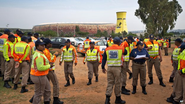 Police at the FNB stadium in Johannesburg, 9 Dec