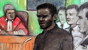 Court artist sketch of Michael Adebolajo by Elizabeth Cook