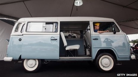 A Volkswagen Kombi minibus is displayed during an exhibition of the vehicles on 8 December, 2013