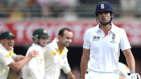 England captain Alastair Cook leaves the field after being dismissed by Australia's Nathan Lyon