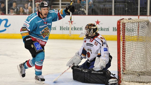 Belfast Giant Dustin Whitecotton celebrates scoring against Edinburgh Capitals