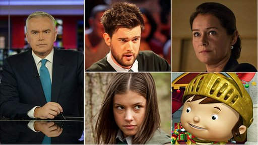 Huw Edwards, Jack Whitehall, Sidse Babett Knudsen, Aimee Kelly and Mike the Knight