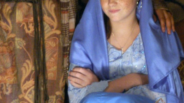 Girl playing Mary in the Nativity