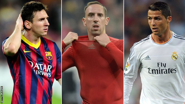 Lionel Messi (Barcelona and Argentina), Franck Ribery (Bayern Munich and France), Cristiano Ronaldo (Real Madrid and Portugal)