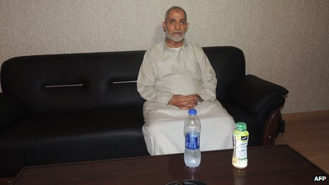 A picture distributed by the Egyptian interior ministry shows Mohammed Badie following his arrest in the early hours of August 20, 2013 in Cairo