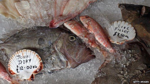 Fish at a fishmonger