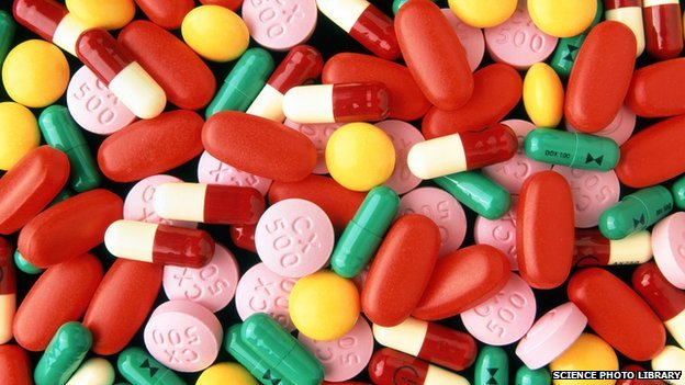 Assortment of antibiotic drugs in tablet and capsule form
