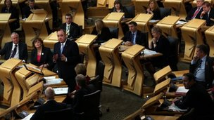 Scottish Parliament during FMQs