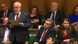 Frank Dobson speaks, listened to by Gordon Brown
