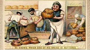 A cartoon showing how bread was made in the Victorian era