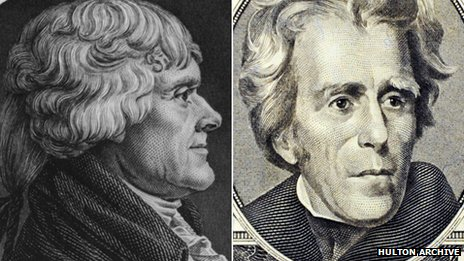 Thomas Jefferson (left) and Andrew Jackson
