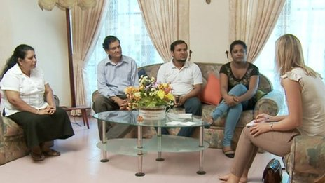 Thavisha Peiris' family with reporter Kate Bradbrook