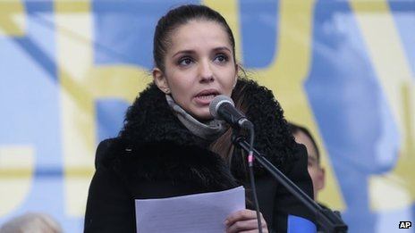 Eugenia Tymoshenko, daughter of jailed Ukrainian former Prime Minister Yulia Tymoshenko speaks to pro-European Union activists in Kiev, Ukraine