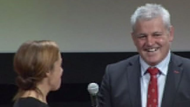 Warren Gatland enjoys his BBC Wales award
