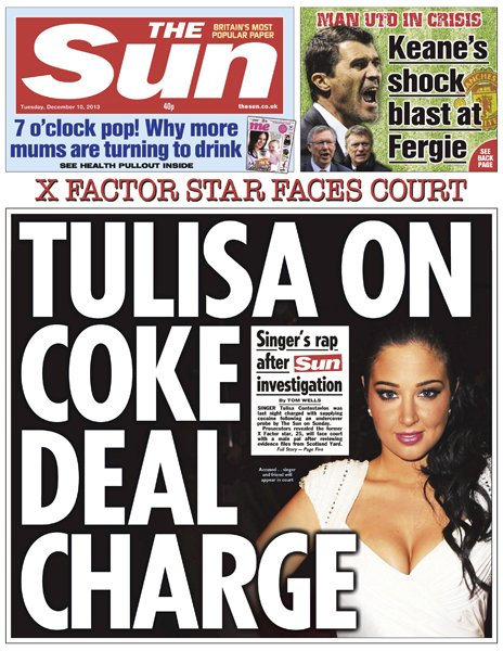 Tulisa charge and pension 'sharks' - the front pages...
