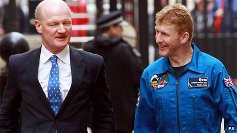 Science Minister David Willetts with British Astronaut Tim Peake in May