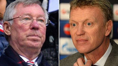 Composite image showing Sir Alex Ferguson and David Moyes