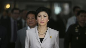 Thailand Prime Minister Yingluck Shinawatra arrives to talk to media after attending a Cabinet meeting in Bangkok, Thailand, 10 December 2013