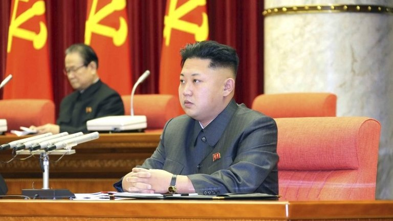North Korean leader Kim Jong-un attends a meeting of the ruling Workers' Party politburo in Pyongyang, in this undated photo released by North Korea's Korean Central News Agency (KCNA), 9 December 2013