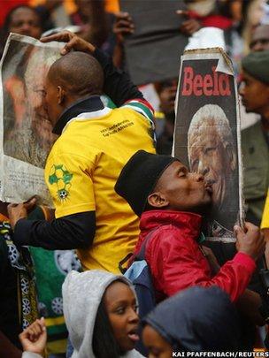 Crowds in the FNB stadium in Johannesburg