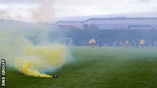 Flares and smoke bombs are being seen more frequently at Scottish matches