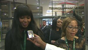 Supermodel Naomi Campbell (left) arrives