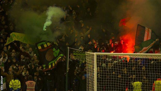 Celtic fans at Fir Park on Friday
