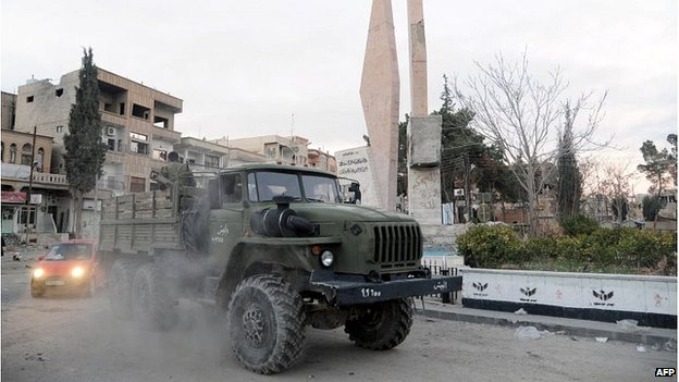 Syrian military vehicle inside Nabak (09/12/13)