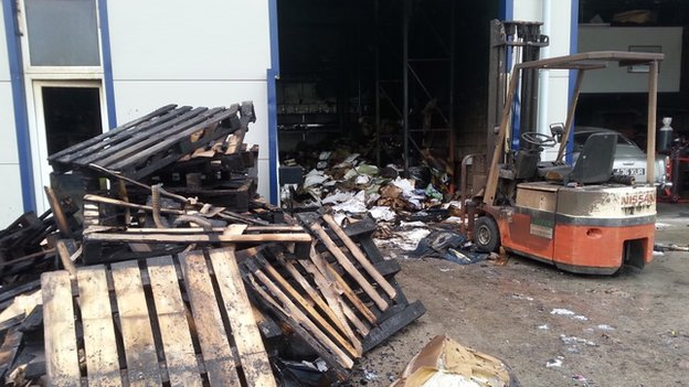 Fire damaged industrial unit in Westburt