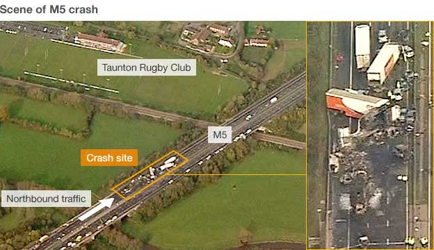 Graphic showing crash scene and rugby club