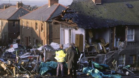 There was devastation on the ground as the plane came down in Lockerbie