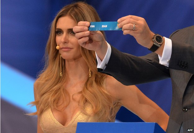 Fernanda Lima at the World Cup draw as Iran is drawn
