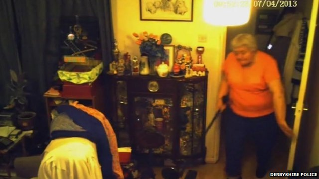 Margaret Woodward chased the burglar armed with her walking stick
