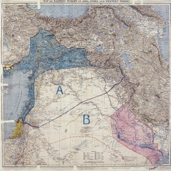 map showing Sykes-Picot lines