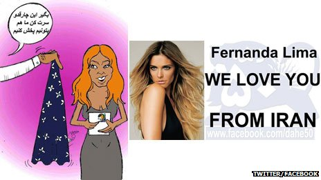 "Two examples of some of the things being shared about Fernanda Lima on Twitter and Facebook - a cartoon urging her to wear a hijab, and an image saying ""Fernanda Lima, we love you from Iran"""