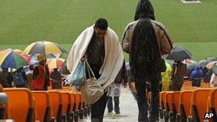Rain at the FNB Stadium.