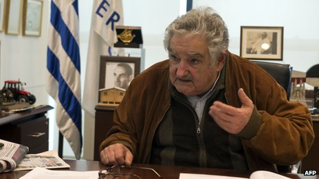 Uruguayan President Jose Mujica in Montevideo on 6 August, 2013