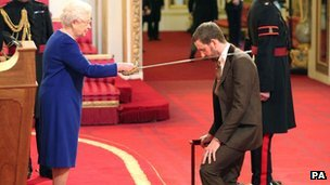 Sir Bradley Wiggins is knighted by Queen Elizabeth II