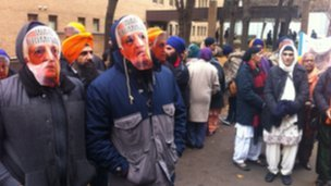 Sikh protesters outside court