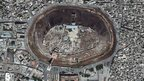 A satellite photograph of The Citadel of Aleppo in Syria.