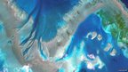 A satellite photo of Australia's Great Barrier Reef