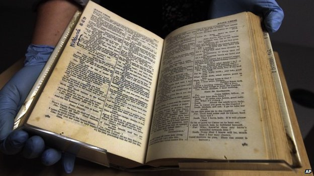 A complete works of Shakespeare used by inmates on Robben Island