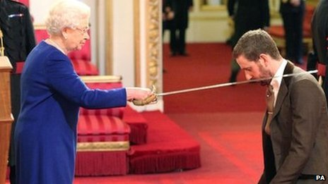 The Queen confers a knighthood on Sir Bradley Wiggins