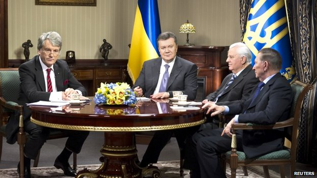 From left: Viktor Yushchenko, Viktor Yanukovych, Leonid Kravchuk and Leonid Kuchma, in Kiev, 10 December