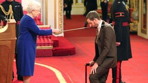 The Queen knights Sir Bradley Wiggins