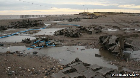 The road along Spurn Point after the North Sea tidal surge