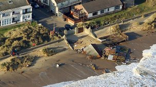 The beach cafe at Caister-on-Sea was also destroyed in the tidal surge
