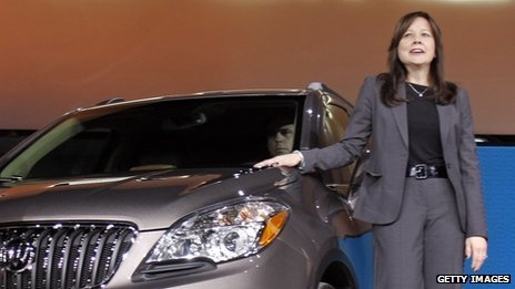 Mary Barra introduces a new SUV at the North American Auto Show on January 10, 2012.