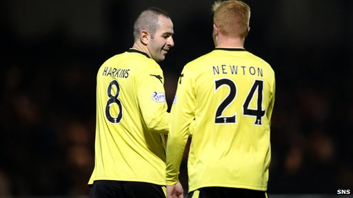 St Mirren goalscorer Gary Harkins and team-mate Connor Newton